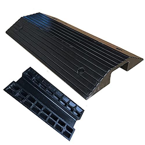 Rampa de goma para umbrales, rampa para sillas de ruedas, superficie antideslizante con rejilla inferior, rampa de transición de puente estable para interiores y exteriores (negro)