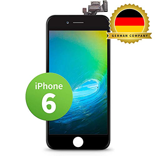 GIGA Fixxoo kompatibel mit iPhone 6 LCD Touchscreen Retina Display Ersatz in Schwarz für Einfache Reparatur, FaceTime Kamera (kein Set)