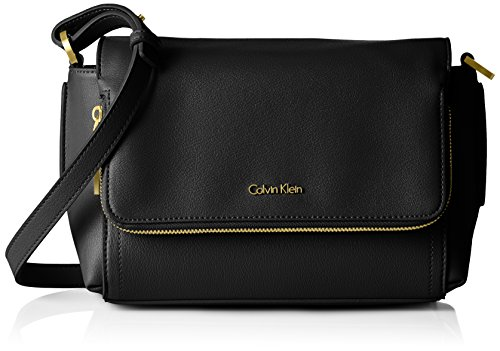 Calvin Klein Jeans Myr4 Flap Crossbody with Zip, Bolso Bandolera para Mujer, Negro (Black), 15 x24 x10 cm (B x H x T)