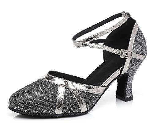 Hanfike Zapatos cómodos de tacón bajo de la correa cerrada para la boda, gris, 39 EU
