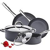 KUTIME Hard-Anodized Pots and Pans Set 9pcs Cookware Set Nonstick Fry pans for Cooking, Stock Pot,...