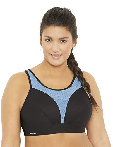 Amazon Brand - MxG - a Mae and Glamorise Collaboration - Women's Full Figure Plus Size Medium Support Camisole Sports Bra, Black, 46G