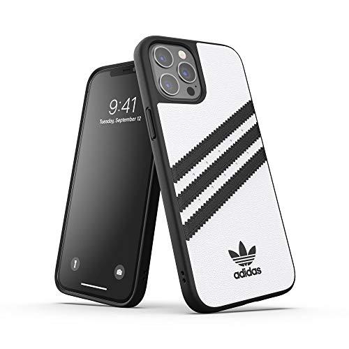 Adidas, custodia progettata per iPhone 12 Pro Max 6.7, con bordi rialzati antiurto e design originale, colore bianco/nero