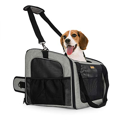 MARKSIGN Pet Booster Seat with Built-in Tether and Removable Plush Liner, Pet Carrier, Holds Small Dogs up to 20lbs.