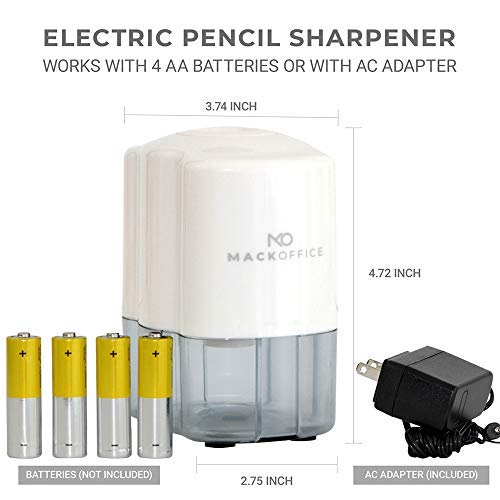 MackOffice, Electric Pencil Sharpener, Heavy Duty, Auto-Stop, Ultra-Portable, Helical Steel Blade, No.2/Colored Pencils (6-8mm) For School, Home, Office, Battery Powered and Plug in (Included) White
