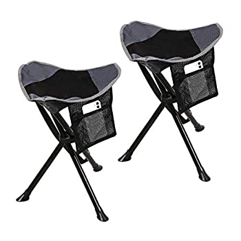 RedSwing Camping Stool Folding 2 Pack Portable and Lightweight Tripod Camp Stools for Fishing Backpacking Hiking Hunting Black