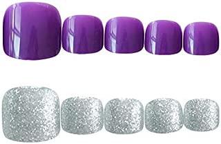 24pcs Short False Toenail for Women Fake Feet Toenails with Glue Acrylic Press On Nail Tips Purple Silver
