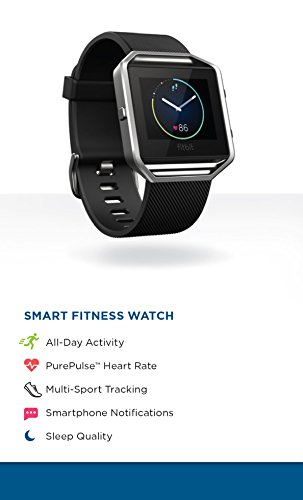 Fitbit Blaze Smart Fitness Watch, Black, Silver, Large (6.7 - 8.1 Inch)