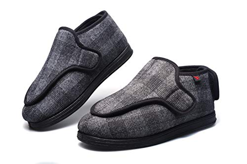 YISHIO Los Zapatos ortopédicos for Las Mujeres Invierno británico a Cuadros Fascitis Plantar hinchados pies se abrieron Zapatillas de Espuma Memoria diabética cómodo Rip Cinta Deporte Hallux valgus