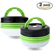 Camping Tent Lantern, Portable LED Hand Lamp Night Light Emergency Torch Mini Flashlight for Hiking Jogging Fishing Outdoor Indoor(2 Pack)
