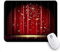 PATINISAマウスパッド 赤いカーテンと落ちる金の紙吹雪と劇場の演劇シーン ゲーミング オフィス おしゃれ 防水 耐久性が良い 滑り止めゴム底 ゲーミングなど適用 マウス 用ノートブックコンピュータマウスマット