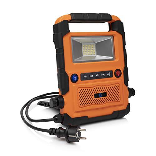 Smartwares FCL-76011 LED Arbeitsleuchte mit Bluetooth Lautsprecher, Kunststoff, 20 W, Orange/Schwarz