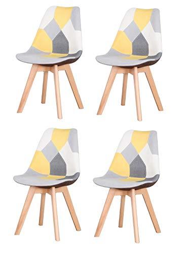 ArtDesign FR - Sillas de comedor de patchwork modernas de tela tapizada con base de madera maciza, j
