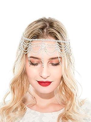 20s Headpiece 1920s Accessories Flapper Headband Crystal Cap Art Deco Hair Piece Wedding