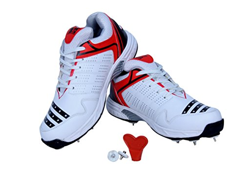 FIRE FLY HOWZATT Cricket Spike Shoes for Men in PU with Extra Set Metal Nails & Key (11) White Red