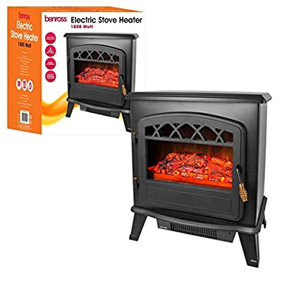 Quest 44220 Cast Iron Effect Free Standing Electric Stove Fireplace Heater, 1850 W, Black