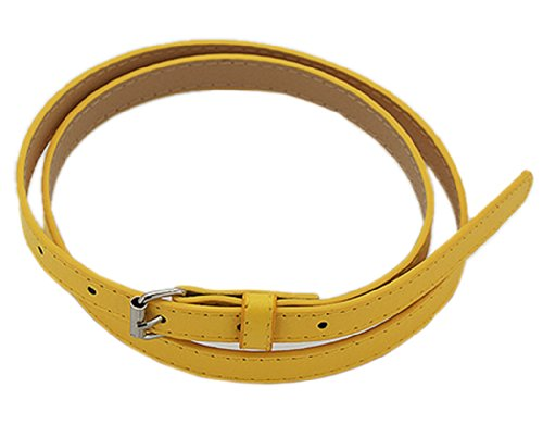 BONAMART Fashion Waist Yellow Skinny Belt for Women Ladies PU Leather Belts