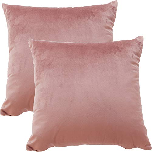 BlueCosto (2_Rosa Terciopelo Fundas de Cojines Funda de cojín para sofá Almohada Dormitorio Coche Suave Decoración 45 x 45 cm