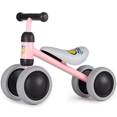 Hadwin Kinder Laufrad ab 1 Jahr, Baby Lauflernrad mit 4 Räder ohne Pedale, Kleinkind Balance Fahrrad Spielzeug, Geschenk für Ersten Geburtstag, Jungen Mädchen 10 – 24 Monaten, Rosa
