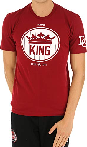 Dolce & Gabbana - Camiseta con logotipo de impresión para hombre color rosa rojo 44