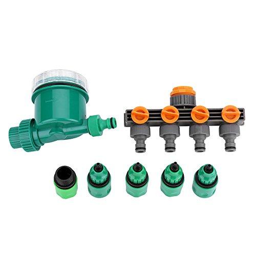 7 Teile/Satz Garten Wasser Timer, Elektronische Wasser Timer Bewässerungssteuerung Kit mit 4-Wege Schlauch Splitter Schnellkupplung.