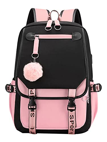 Teenage Girls' Backpack Middle School Students Bookbag Outdoor Daypack with USB Charge Port (4# Black Pink,21 Liters)