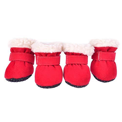 Beste Dagboek Winkel 4 Stks/Set Winter Warme Schoenen Voor Honden Leuke Hond Laarzen Sneeuw Wandelen Katoen Blend Puppy Sneakers, L, Rood