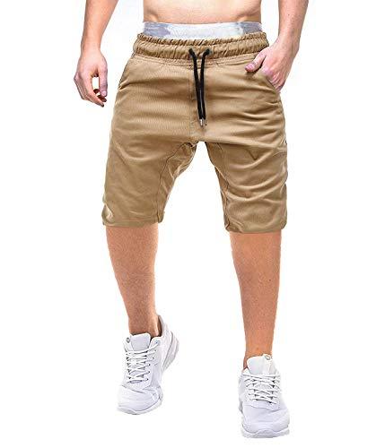 Men's Sexy Lichtgewicht Tether gesloten revers effen kleur toevallige borrels Katoen Lengte Sport (Color : Khaki, Size : L)