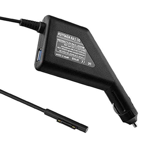 xllLU Protable Surface Car Charger DC 12V 2.58A Fuente de alimentación con QC3.0 USB Puerto de carga para Surface Laptop (cable de 55 pulgadas) 12v adaptador de fuente de alimentación coche