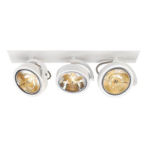 SLV Einbau-Strahler KALU 3, dreh- und schwenkbar | Dimmbare Deckenleuchten, Beleuchtung innen | LED Spots, Fluter, Deckenstrahler, Decken-Lampen, Einbau-Leuchten | 3-flammig, GU10 QR111, EEK E-A+