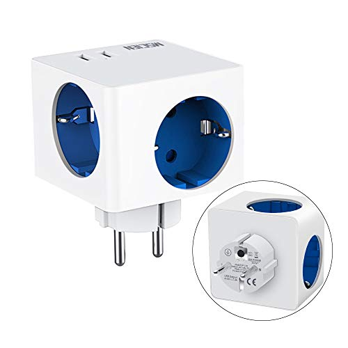USB Steckdose,3 Steckdosen(3680W) mit 2 USB (2.4A), Mscien 5-in-1 Steckdosenadapter Tragbare Würfel Steckdose für Haushaltsgerät, iPhone, Smartphone, Mp3 usw-Weiß + Blau