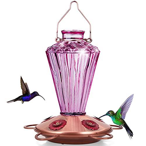 Bolite 18017-p hummingbird feeder, glass hummingbird feeder for outdoors, diamond shape bottle for outside, 20 ounces, lavender