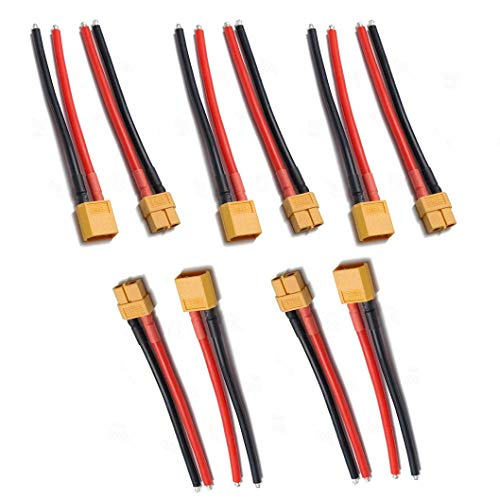 JFtech XT60 Connectors Male & Female Plug with 10cm 100mm 14 AWG Soft Silicone Wire for RC Airplane Quadcopter Lipo Battery ESC DIY (Pack of 5 Pairs)