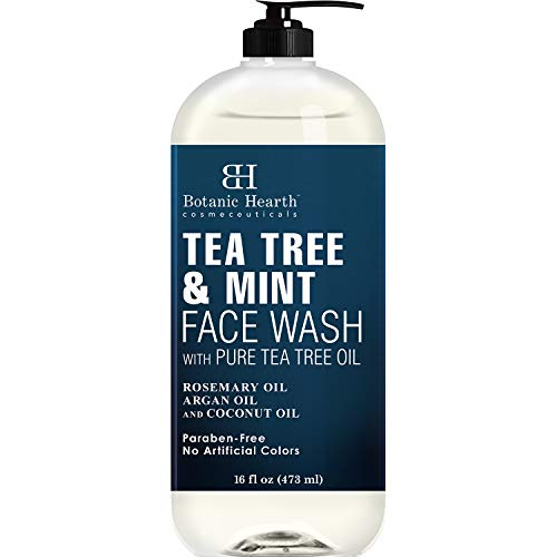 BOTANIC HEARTH Tea Tree Face Wash with Mint - Acne Fighting, Therapeutic, Hydrating Liquid Face Soap with Pure Tea Tree Oil - for Women and Men, Paraben Free, Fights Acne - 16 fl oz