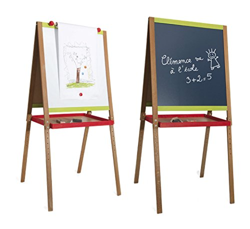 Jeujura - 8747-Tableau en Bois-Grand Tableau Creatif en Bois avec Fonction dessin