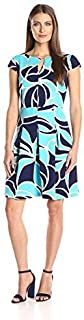 Sandra Darren Women's 1 Pc Cap Sleeve Floral Printed Ottoman Fit & Flare Dress