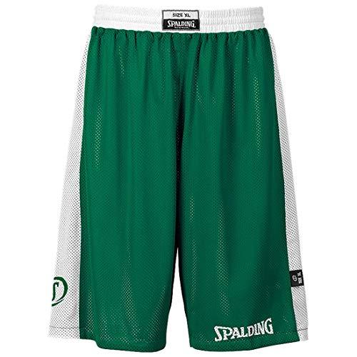 Spalding - Essential Reversible, Pantalone Corto da Uomo Verde-Bianco XXS