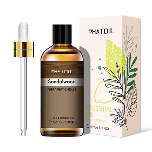 PHATOIL Aceites Esenciale de Sándalo 100 ml, 100% Naturales Puros, Aceite Esencial de Aromaterapia de Grado Terapéutico, Aceite Esenciales para Humidificador, Difusor, Regalos Perfectos