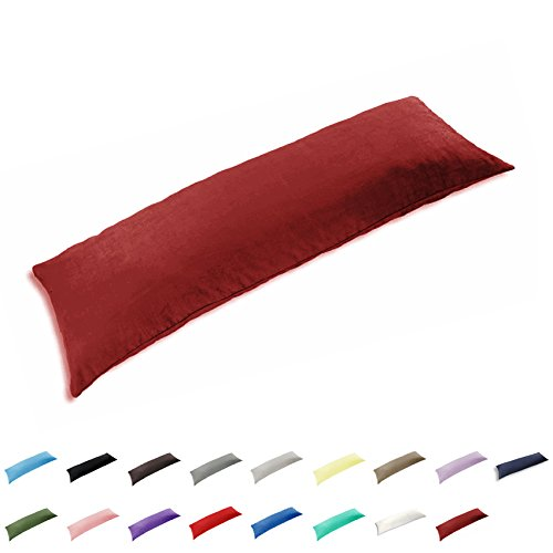 TAOSON 100% Cotton 300 Thread Count Body Pillow Cover Pillowcase Pillow Protector Cushion Cover with Zippers Only Cover No Insert (Wine Red,21'x54')