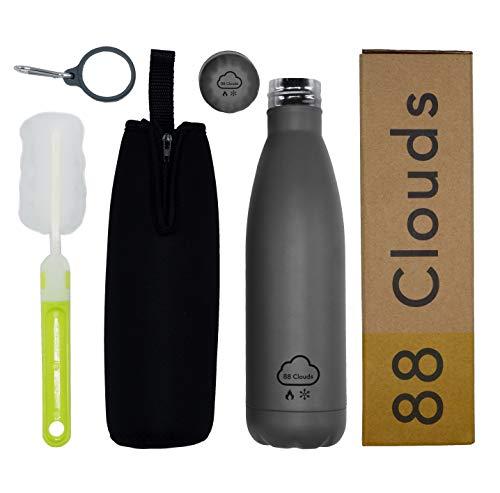 88 Clouds Bottiglia Termica in Acciaio Inossidabile | Borraccia in Acciaio Inox | Acciaio Inossidabile Senza BPA | Isolamento Doppio Strato/Double Wall | Portatile | Sport | (Matt Grey, 500ML)