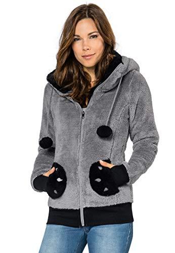 Sublevel Damen Fleece Jacke Panda Style mit Öhrchen und Panda Gesicht, Middle Grey, L