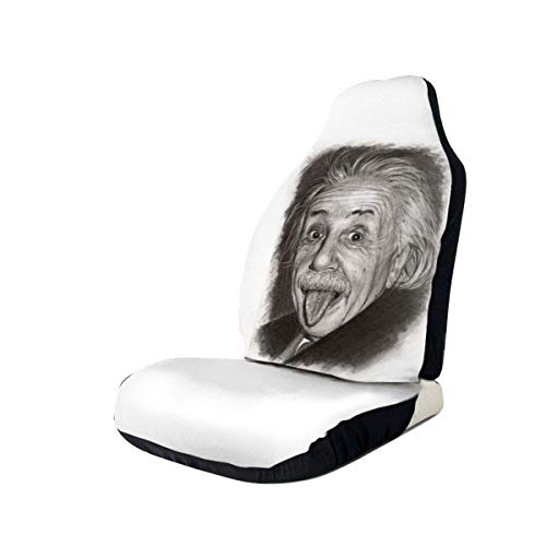 MoonW Albert Einstein Zunge Autositzbezug Schutzkissen Premium Bezüge Für die meisten Autos, LKW, SUV oder Van