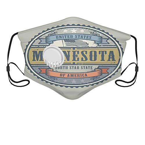 Unisex adult North Star State of America Lettering in Retro Round Frame with Country Flag Dust Washable Reusable Filter and Mouth Warm Windproof Cotton Face