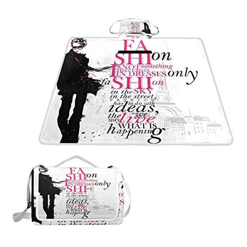XINGAKA Coperta da Picnic Tappetino Campeggio,Figura della Donna a Parigi Autumn Inspirational Words Vogue Theme Art Print,Giardino Spiaggia Impermeabile Anti Sabbia