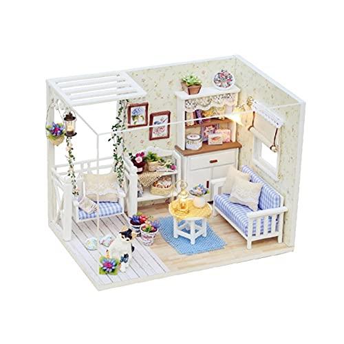 Okuyonic Casa De Muñecas De Madera, Bricolaje Muebles De Bricolaje Sin Pilas Miniatura Visión Más Clara Respetuoso con El Medio Ambiente para Niños para Regalos para Fiestas De Cumpleaños
