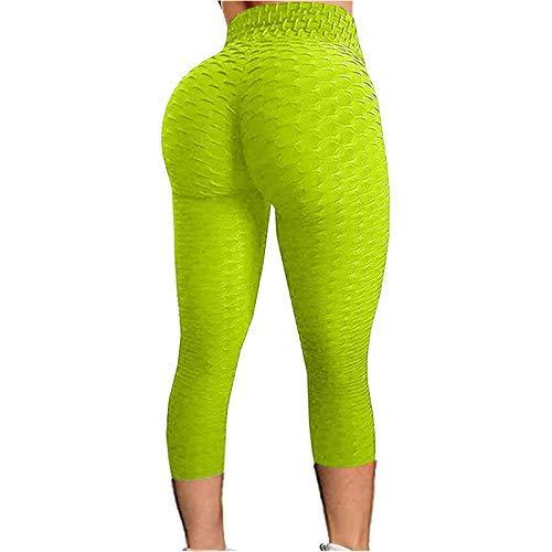 NAQUSHA Damen Leggings mit Blasen-Struktur, Hüftlifting, Fitness, Laufen, hohe Taille, Yogahose Gr. XXL, A-grün