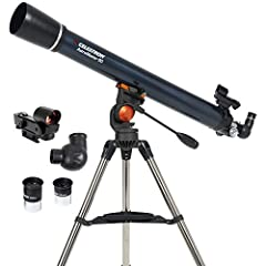 POWERFUL REFRACTOR TELESCOPE: The Celestron AstroMaster 90AZ Refractor telescope is a powerful and user-friendly refractor telescope. It features fully-coated glass optics, a sturdy and lightweight frame, two eyepieces, a StarPointer red dot findersc...