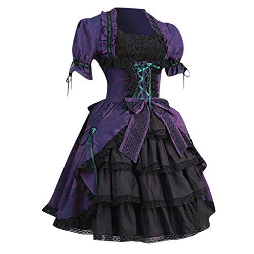 Lolita Kleid Damen Victorian Gothic Kostüm Piebo Frauen Kurzarm Mini-Kleid Lace Up Bowknot Rüschen Spitze Mittelalter Kleider Oktoberfest Halloween Weihnachten Party Karneval Fasching Cosplay Costume