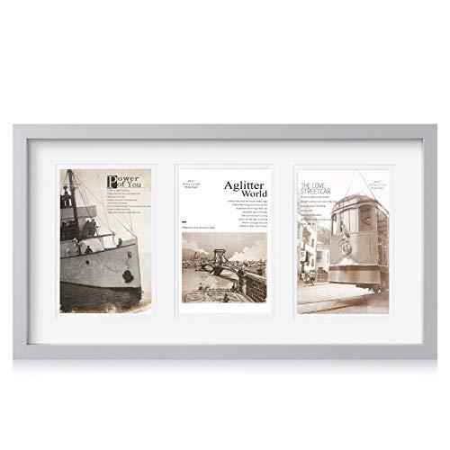 Makitesy Cornice Multipla per Portafoto, Cornice per 3 Foto (10x15 cm), Cornici Portafoto Collage, Cornici Foto Multiple da Parete in Legno (Grigio)