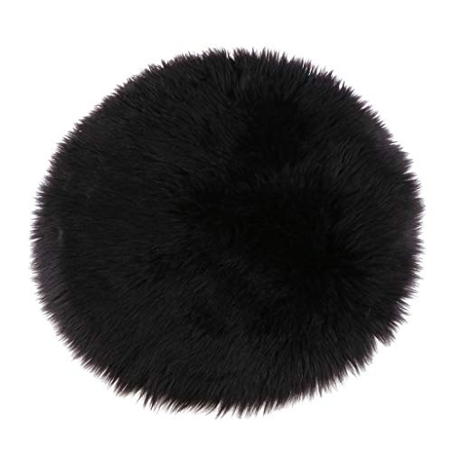 HomeDecTime Fluffy Faux Sheepskin Fur Round Chair Cushion Seat Pad, Soft Rugs for Bedroom, Living Room, Girls Room, Sofa Decor - Black 40cm